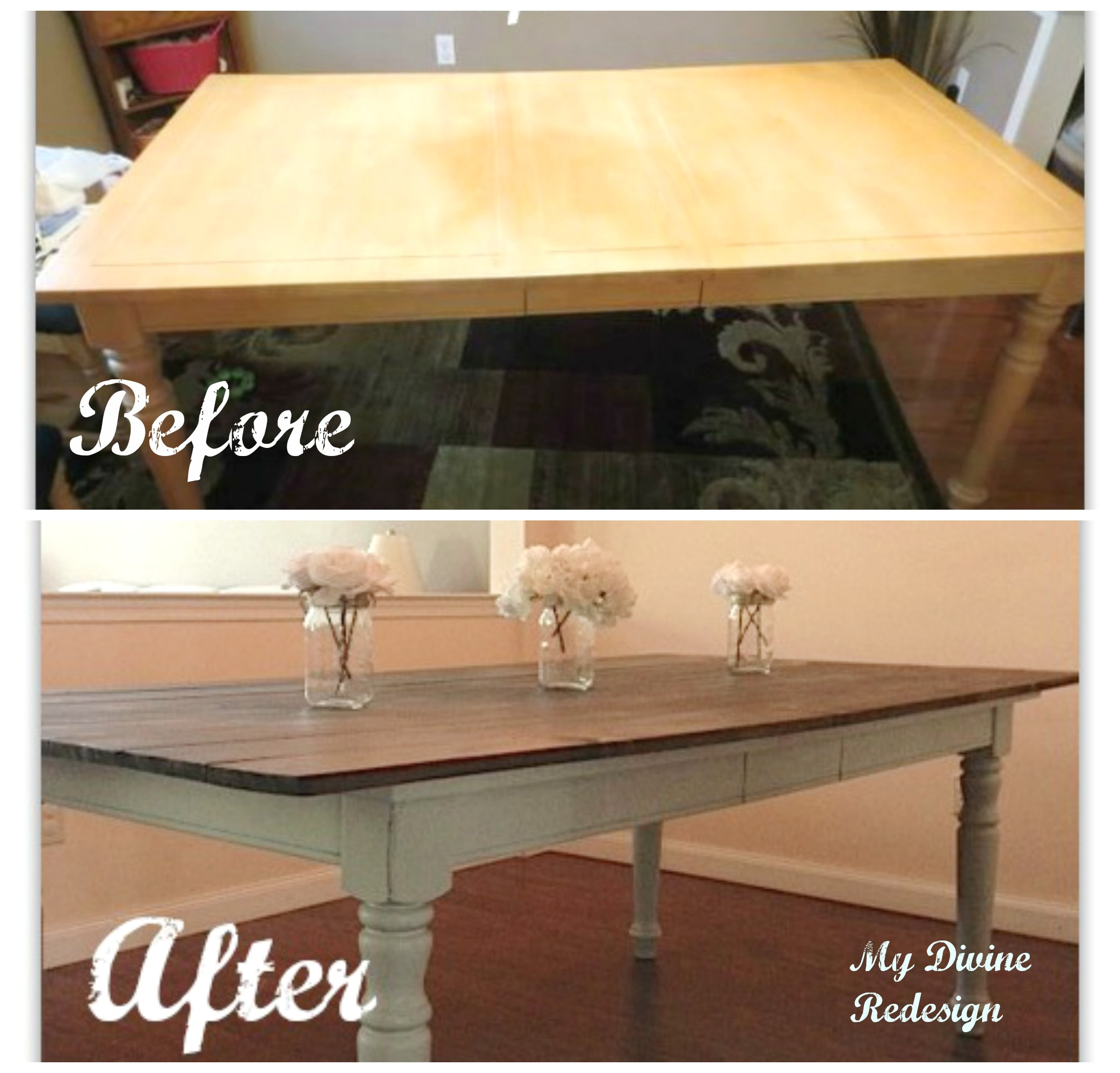 How to turn an old dining room table into a beautiful farmhouse